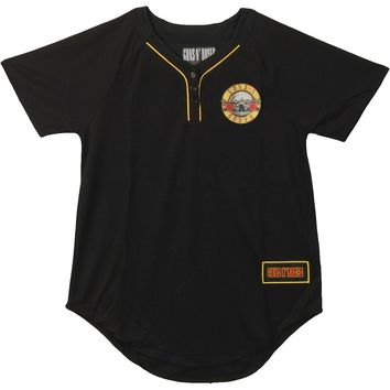 Guns N Roses  Baseball Jersey Girls Jr Jersey Black