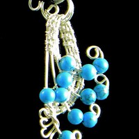 Fan Shaped Artistic Silver and Dyed Howlite Turquoise Pendant