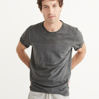 Mens Garment Dye Mixed Fabric Tee | Mens Tops | Abercrombie.com