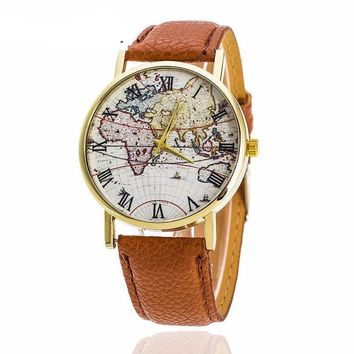 World Map Leather Fashion Watch for Women
