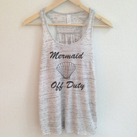 Mermaid Off Duty Tank Top in Heather White - Womens Tank Top With Black Print