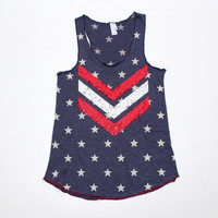 4th of July Sequin Chevron Tank