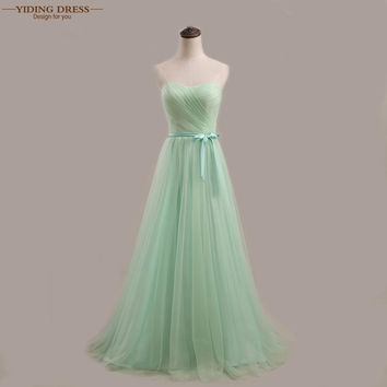 Tulle Mint/Purple/Pink Pleat Long Bridesmaid Dresses 2016 Under 50 Wedding Party Dress