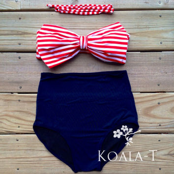 Sailor Bow Top High Waist Bikini