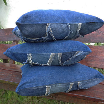3 x Pillow covers recycled denim crazy raggy patchwork