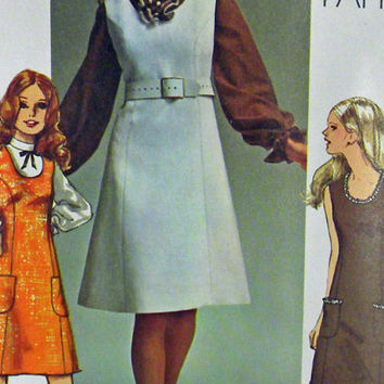 Vintage dress sewing Pattern 1970's Simplicity 9235 Shortsleeve or long Summer women dress
