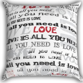 The Beatles All You Need Is Love Lyrics Zippered Pillows  Covers 16x16, 18x18, 20x20 Inches