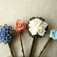Flower Hair Accessories. Shabby Chic Pink, Blue and White Flower Hair Pins. Floral Resin Mum and Rose Filigree Bobby Pins. Set of 4.