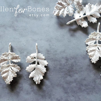 Silver Intricate Fern Leaves Connector Botanical Leaf Pendant Nature Earrings Plant Jewelry Supplies ∙ 2pcs