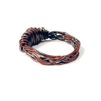 Antiqued Copper Ring, Copper Wire Ring, Braided Copper Ring, Unique Birthday Gift, Copper Jewelry