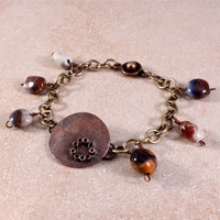 Roller Printed Copper and Ceramic Beads Charm Bracelet- Brass Chain and Snap-on Clasp