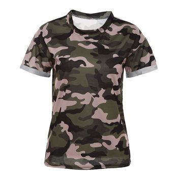 Summer Style Woman Tops Camouflage Casual Tees Crew Neck Print Rolled Women Short Sleeve T-shirt Camo Cotton Clothing 2017 New