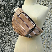Fanny pack aztec fabric tribal pattern Boho festival hip bag Hobo Styles hiking Pouch Travel phanny waist bags Ikat Hippies Bohemian brown