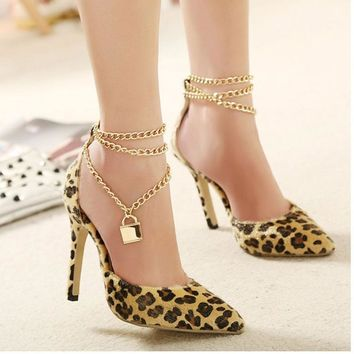 Womens Sexy Leopard Pointed-toe Shoes Ladies Love Lock Thin Heels Unique Shoes