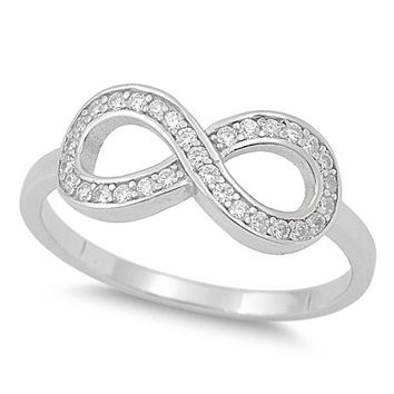 Sterling Silver Channel Set CZ Infinity Ring size 4-10