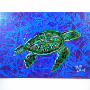 Sea Turtle - Small Sea Turtle Painting - 5x7 - Original Painting - Sea life Art - Ocean Art - sea turtle art