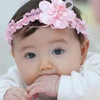 """Baby Girls Lace Flower Stretchy Hair Headbands 7 4/8""""x1 1/8"""" = 1705632516"""