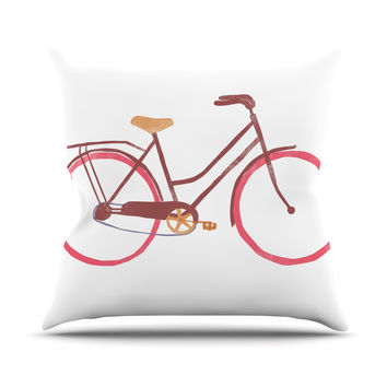 "Alik Arzoumanian ""Bike"" White Pink Outdoor Throw Pillow"