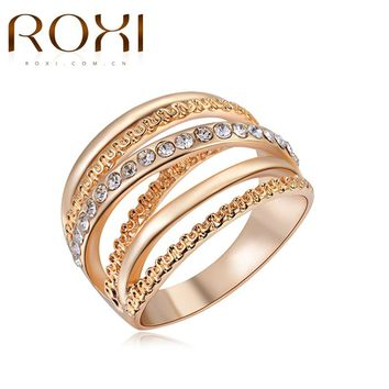ROXI Brand Women Ring Rose Gold Color Finger Engagement Rings for Women Wedding Rings anillos Body Jewelry