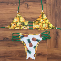pineapple print reversible bikini womens swimsuit summer  + Free Gift Necklace