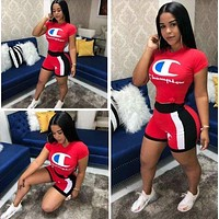Champion Summer Fashion Woman Casual Print Short Sleeve Top Shorts Set Two Piece