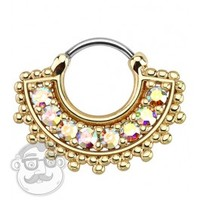 16G Wide IP Gold With Rainbow Aurora Gem Tribal Fan Septum Clicker Ring | UrbanBodyJewelry.com