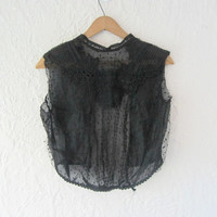 Antique lace blouse // Edwardian mesh blouse // black top