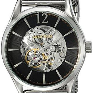 Silver Tone Mesh Bracelet Watch Armitron Men's Automatic Skeleton Dial
