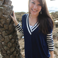 Super Soft Striped Top in Navy