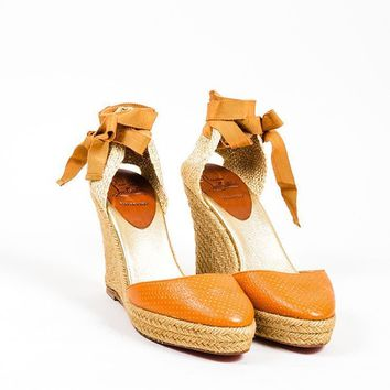 DCCK2 Orange and Gold Christian Louboutin Perforated Leather Espadrille Wedges