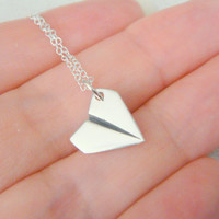 Sterling Silver Paper Plane Necklace, Airplane Necklace, Folded Airplane Necklace, Airforce Wife Gift