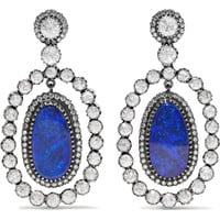 Amrapali - 18-karat gold, silver, opal and diamond earrings