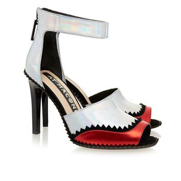 Kat Maconie Fern Silver And Red Peep Toe Sandal For Women Online :