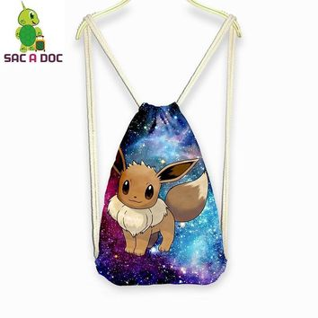Glaxy Universe Space  Eevee Printed Drawstring Bag Women Men Casual Shoulder Bags Boys Girls School Backpack Travel BagKawaii Pokemon go  AT_89_9