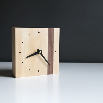 Modern 5.5 in. square desk clock walnut and birch wood with straight black hands and dots