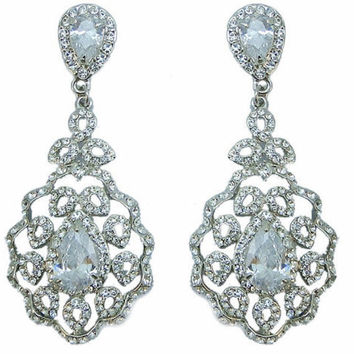 PAIR Bridal Drop Lace Wedding Gauges Plugs Dangles Earrings Rhinestone Crystal Zircon 2g 0g 00g 6mm 8mm 10mm