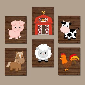 FARM Animals Wall Art Canvas or Prints Farm Nursery Decor, Rustic Farm Baby Boy Nursery Wall Art, Western Boy Bedroom Wall Decor, Set of 6