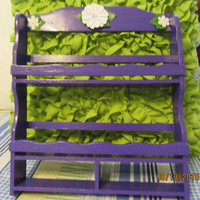 Up-Cycled Cottage Chic Hand Painted Wooden Shelf or Spice Rack in Apple Barrel Purple Iris With White Flower Accents