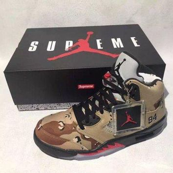 DCCKIJ2 Mens Air Jordan 5 Retro High Supreme X  Camo 824371-201 Basketball Sand