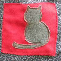 Gray Cat Messenger  black red and gray messenger bag pockets adjustable strap cute cat bag eco-friendly repurposed fabrics vegan