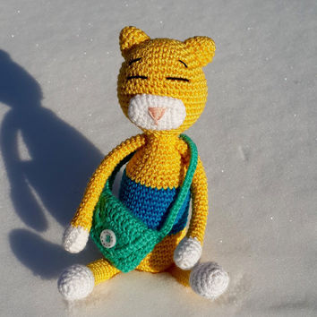 Crochet cat, crochet Amigurumi cat, sleeping cat, stuffed toy cat