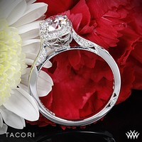 18k Rose Gold Tacori Dantela Crown Solitaire Engagement Ring for 1ct center