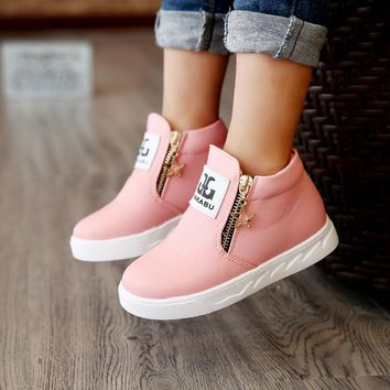 New Winter Warm Children Boots For Girls Fashion PU Leather Kids Shoes Plush Ankle Mar