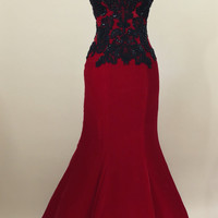 Red ball gown, prom dress, evening gown, party dress, long dress, velvet dress, strapless dress, red and black lace dress