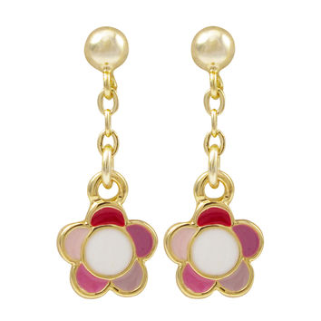 Pink Multi Enamel 9mm  Flower, Gold Plated Sterling Silver Post Earrings