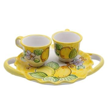 Vietri Espresso Cups Set With Tray & Two Espresso Cups
