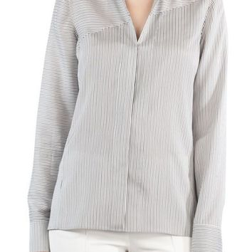 Akris Stripe Silk Satin Tunic Blouse | Nordstrom