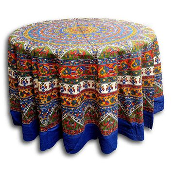 """Handmade Mandala Floral and Elephant Printed Cotton Tablecloth 76"""" Round & 90"""" Round Blue"""