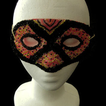 Red,Gold,and Black Handmade Beaded Lace Mask With Glitter, Halloween Masquerade Mask, Free US Shipping