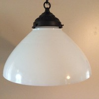 Antique Milk Glass Pendant Cone Shade Light 1930s Industrial Smooth Texture 10""